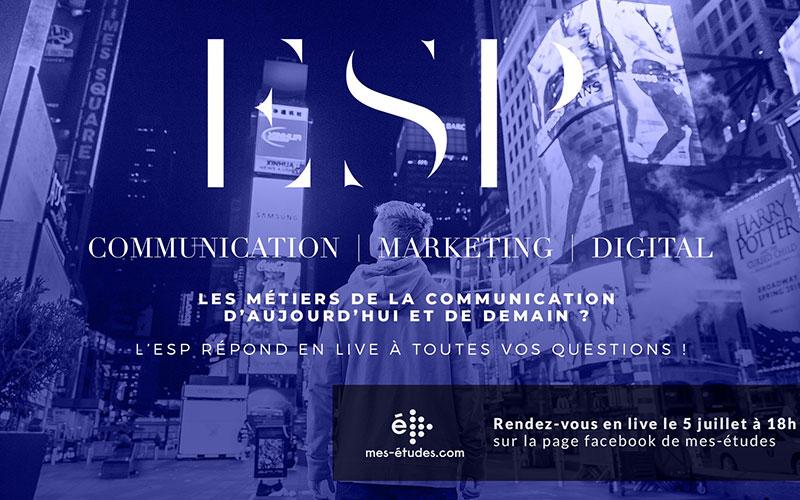 L'ESP en live sur la page facebook de mes-études