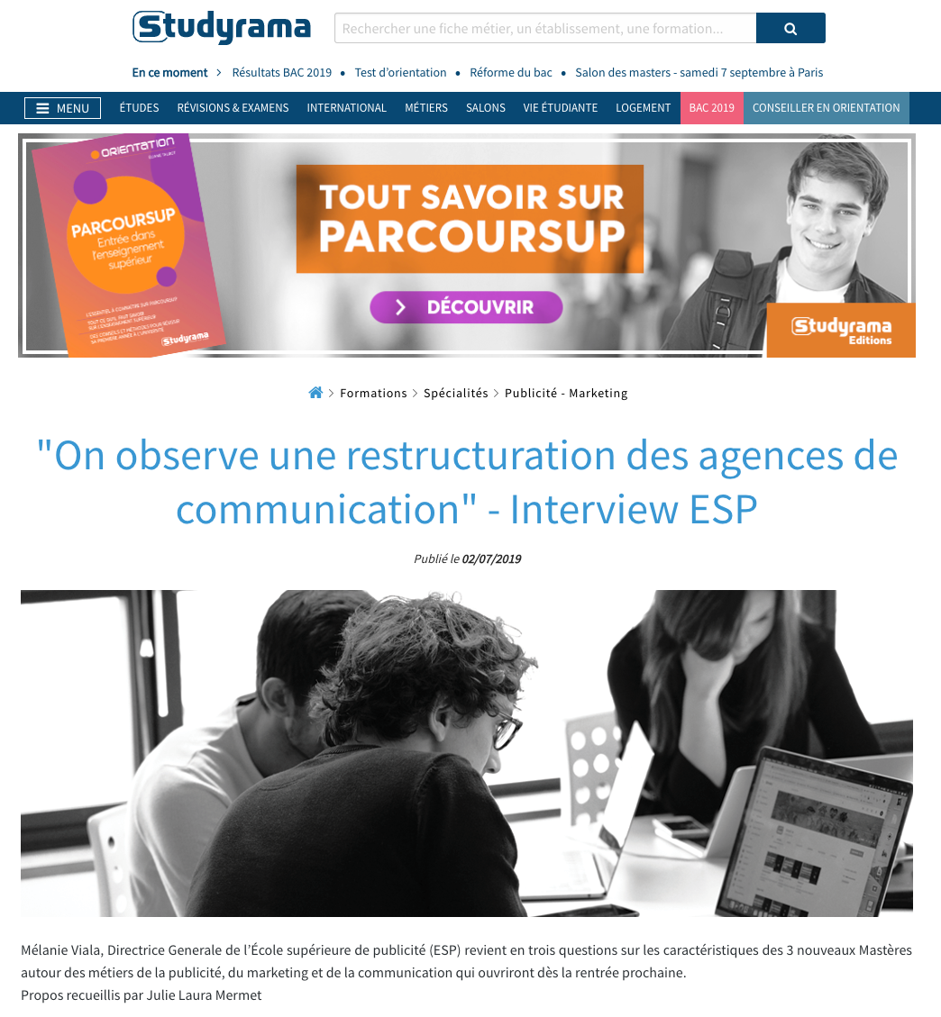 "studyrama ""On observe une restructuration des agences de communication"" - Interview ESP"