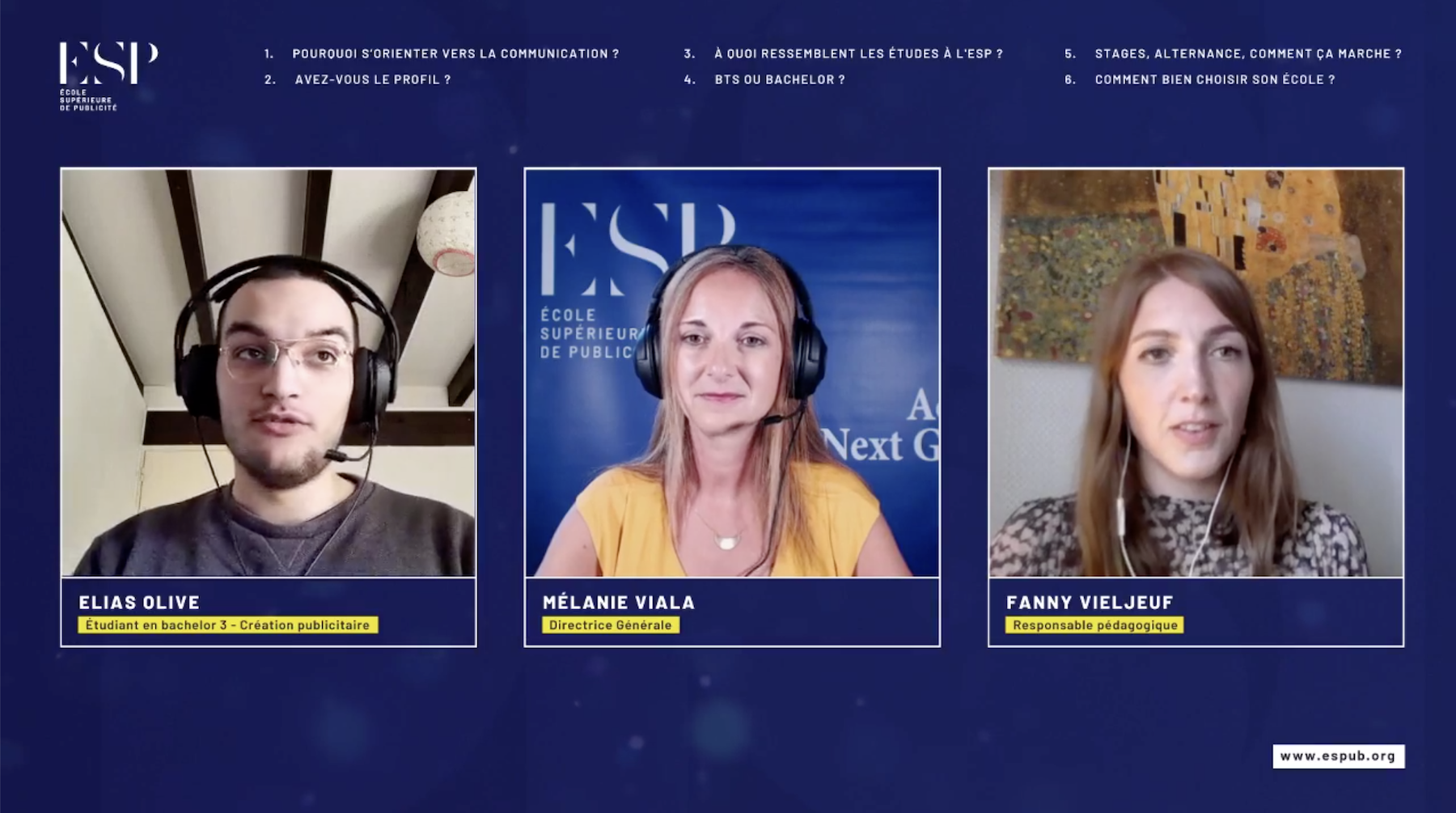 Facebook Live ESP - Les études dans la comm'