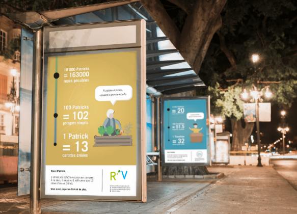 Maquette de la campagne d'affichage « A notre échelle » réalisée par les étudiants pour Bordeaux Métropole Valorisation