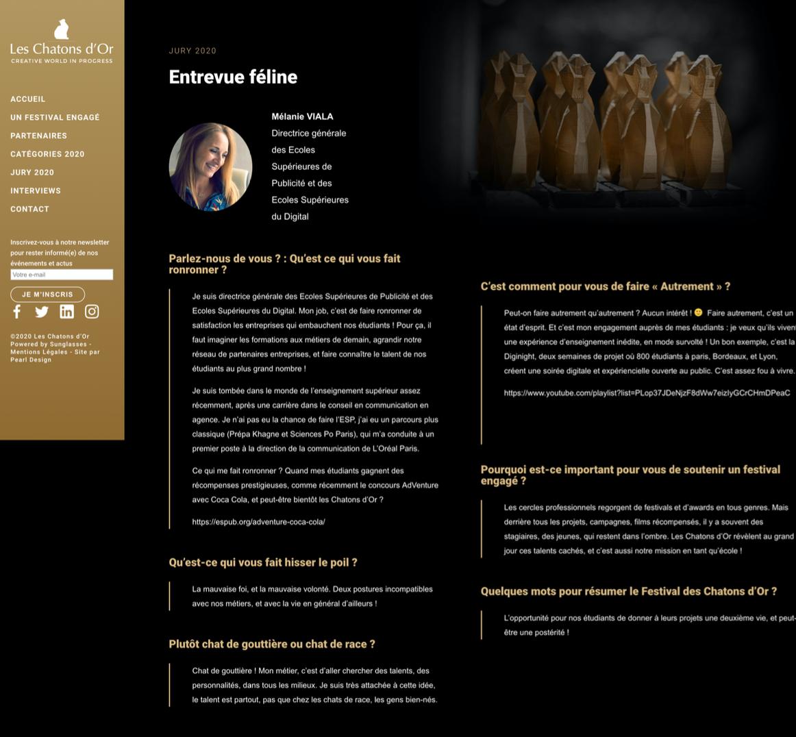 Capture écran article Les Chatons d'Or sur Mélanie Viala