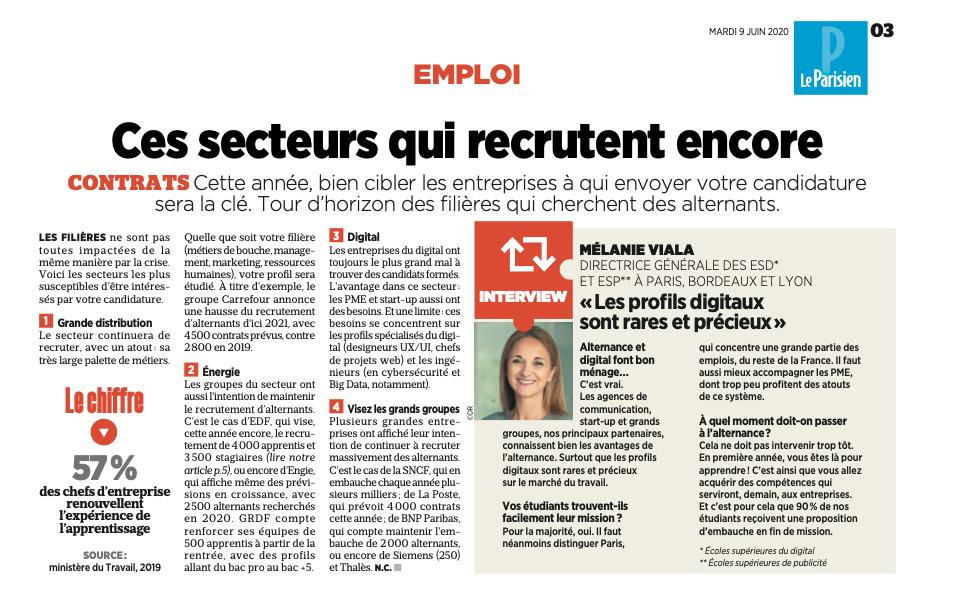 Capture d'écran article Le Parisien Etudiant sur Mélanie Viala