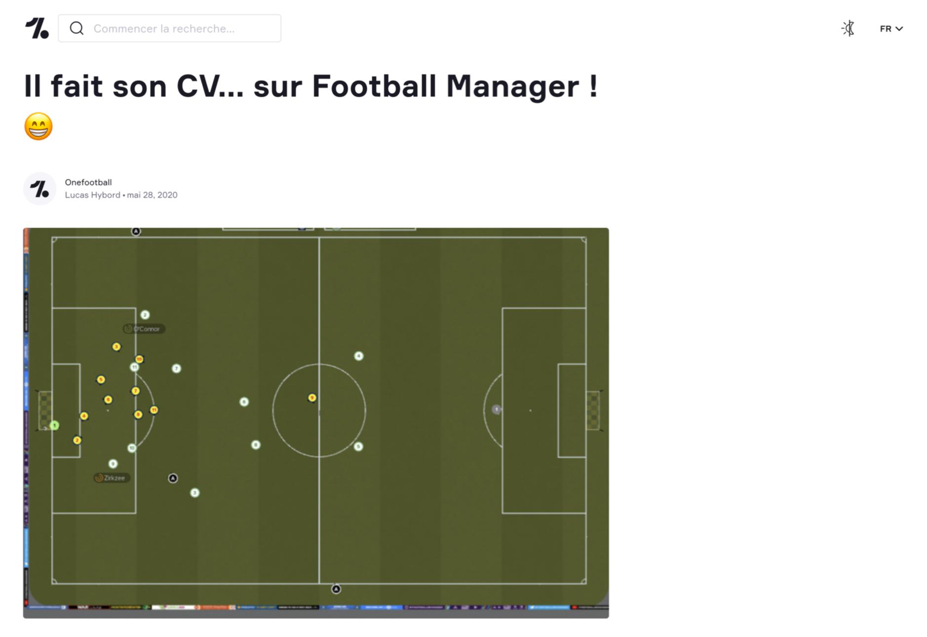 Article de OneFootball sur un étudiant de l'ESP qui a fait son CV sur Football Manager