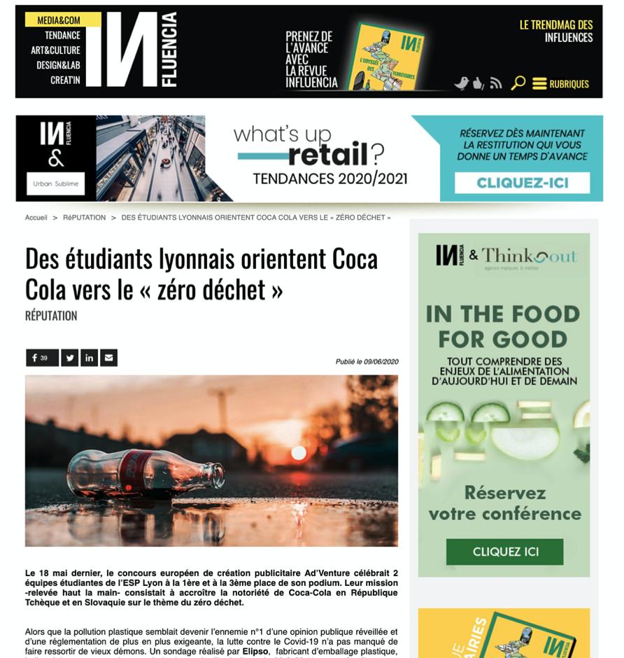 Capture d'écran article Influencia sur l'ESP et le projet Coca Cola
