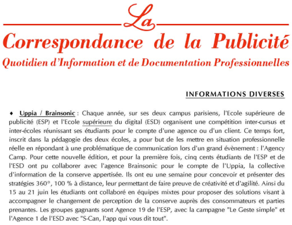 Communiqué de Presse de la Correspondance de la Publicité