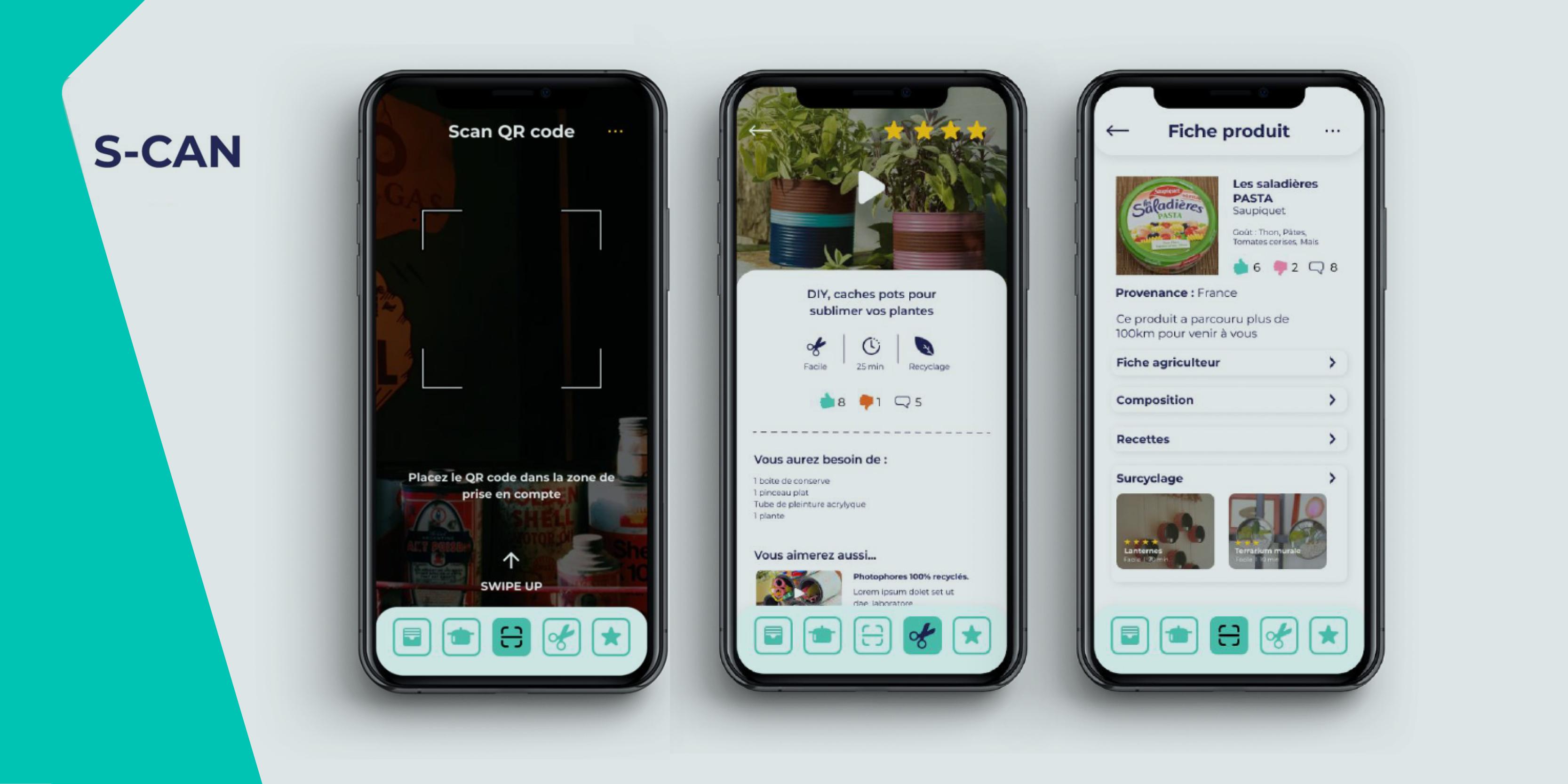 mockups application mobile s-can imaginée par les étudiants